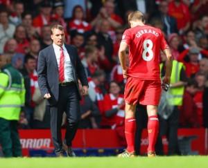 Manajer Brendan Rodgers dan kapten Steven Gerrard kecewa berat.